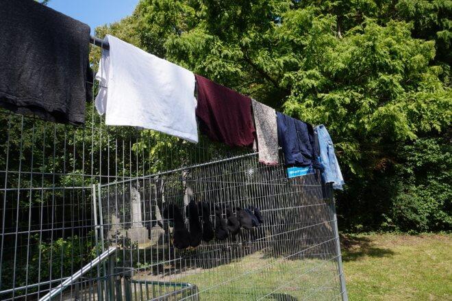 バックパッカーの洗濯干し方