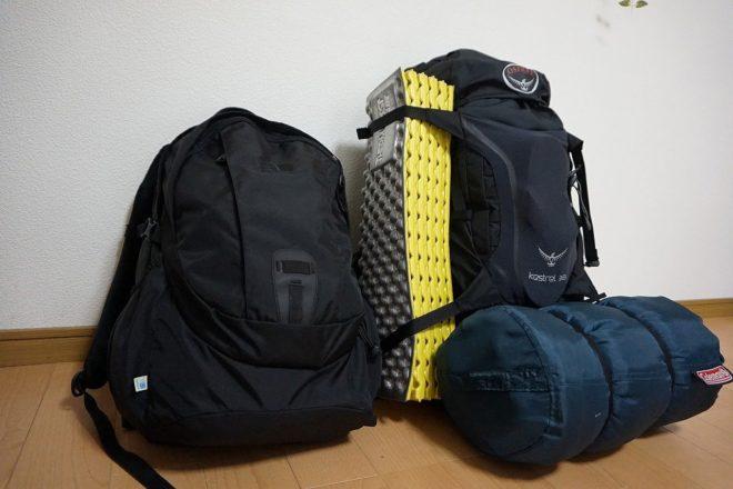 大学生バックパッカーの持ち物、バッグ、荷物