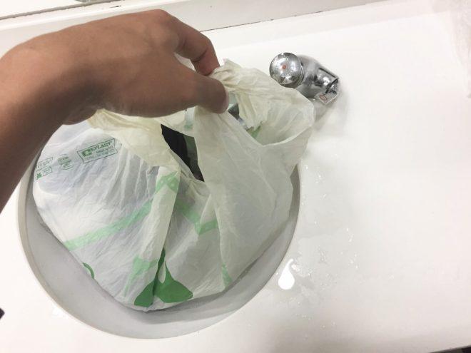 ビニール袋で洗濯